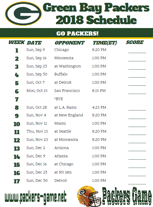 Packers Game schedule